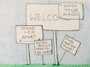 Welcome sign covered in covid-19 sing like wash your hands