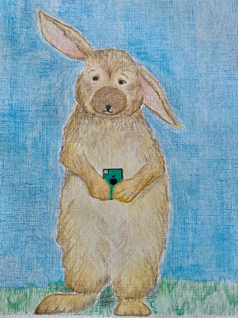 Drawing of bunny holding an iPhone looking overwhelmed.